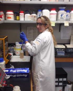 Andrea at work in the lab